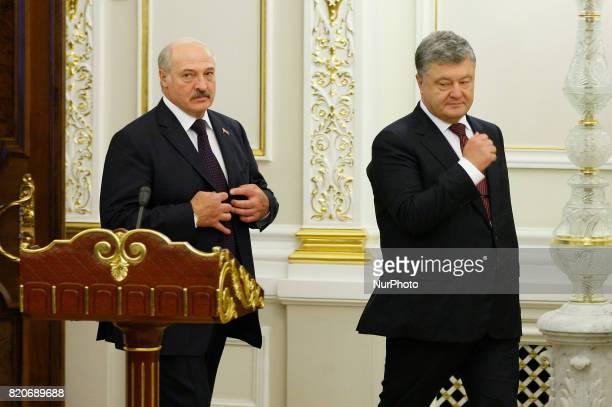 Belarussian President Alexander Lukashenko and Ukrainian President Petro Poroshenko during a meeting in Kiev Ukraine 21 July 2017