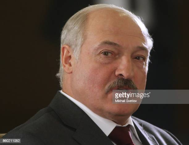 Belarussian President Alexander Lukashenko attends attends during the Eurasian Econonic Union Summit on October 12 2017 in Sochi Russia Leaders of...