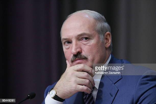Belarussian President Alexander Lukashenko attends in the EURASEC Summit in Minsk Belarus Leaders of former Soviet republics have gathered in Minsk...