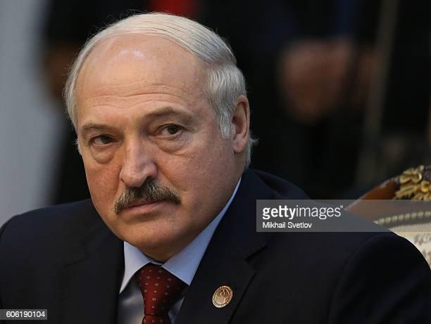 Belarussian President Alexander Lukashenko attends the CIS Summit plenary session on September 16 2016 in Bishkek Kyrgyzstan Putin is having a...