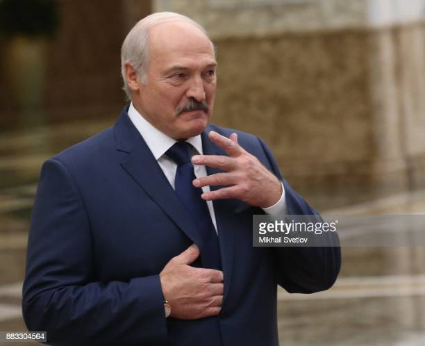 Belarussian President Alexander Lukashenko attends the CSTO Summit in Minsk Belarus November2017 Leaders of 6 former Soviet states have gathered in...