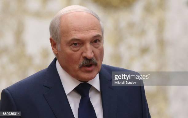 Belarussian President Alexander Lukashenko attends the CSTO Summit November 30 2017 in Minsk Belarus Leaders of 6 former Soviet states have gathered...