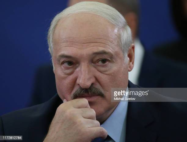 Belarussian President Alexander Lukashenko attends the meeting in the State Residence in Yerevan, Armenia, October 2019. Leaders of Russia, Armenia,...