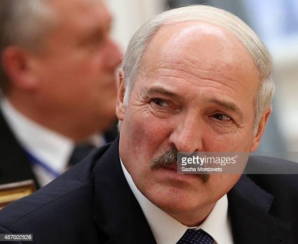 Belarussian President Alexander Lukashenko attends the Summit of Eurasian Economic Union on October 10 2014 in Minsk Belarus Leaders of former Soviet...