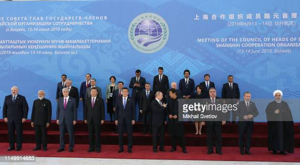 Belarussian President Alexander Lukashenko, Indian Prime Minister Narendra Modi, Kazakh President Kasym-Jomart Tokayev, Chinese President Xi Jinping,...