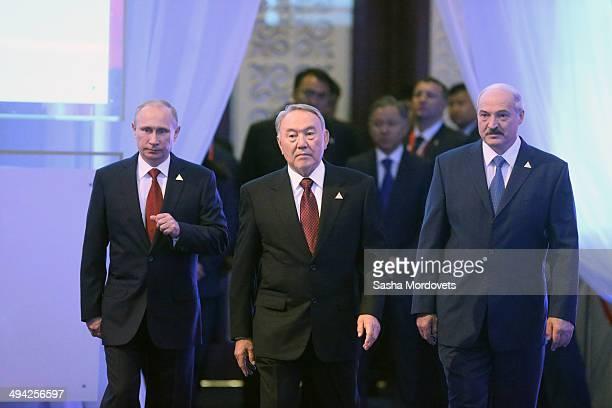 Belarussian President Alexander Lukashenko Kazakh President Nursultan Nazarbayev and Russian President Vladimir Putin attend the Summit of Supreme...