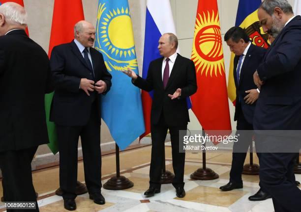 LR Belarussian President Alexander Lukashenko Russian President Vladimir Putin Kyrgyz President Sooronbay Zheeenbekov and Armenian President Nikol...