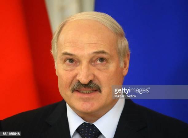 Belarussian President Alexander Lukashenko speaks during his joint press conference at Konstantin Palace on April 32017 in Saint Petersburg...