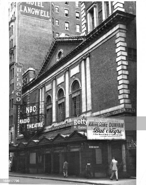 Belasco Theatre/NBC Radio Theatre on West 44th Street with sign that reads 'Katherine Dunham in Bal Negre a new musical revue of Caribbean Exotica in...