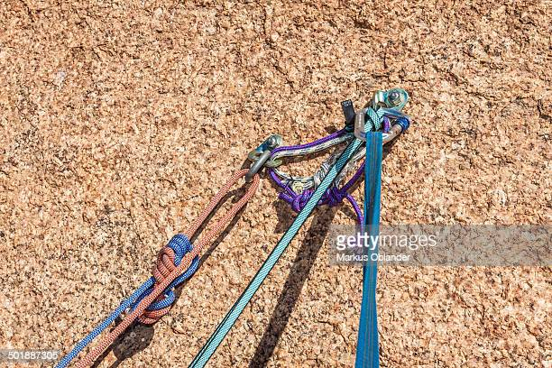 Belay safety point for climbing in granite Spitzkoppe area, Namibia, Africa