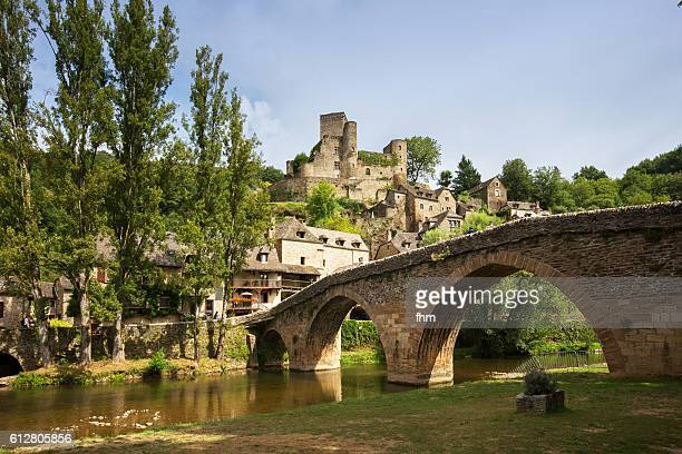 belcastel (aveyron) - historic village in the south of france - aveyron stock pictures, royalty-free photos & images