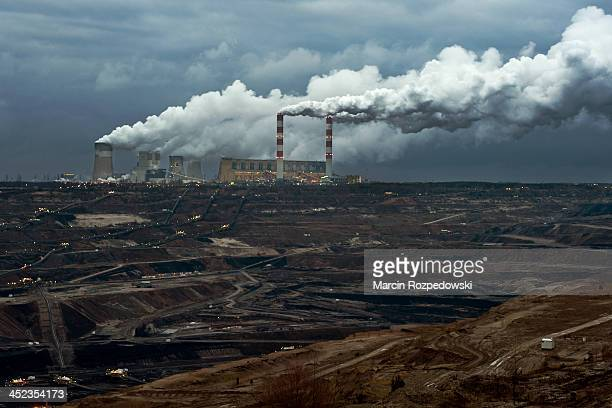Belchatow brown coal mine and power station. View from Zlobnica, Poland. Taken in March 2012.