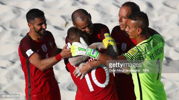 Belchior of Portugal celebrates scoring a goal with team mates pt4 Madjer Ze Maria and Petrony during the FIFA Beach Soccer World Cup Bahamas 2017...