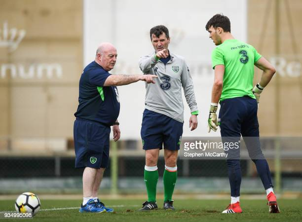 Belek Turkey 20 March 2018 Assistant manager Roy Keane centre equipment manager Dick Redmond and goalkeeper Kieran O'Hara during Republic of Ireland...