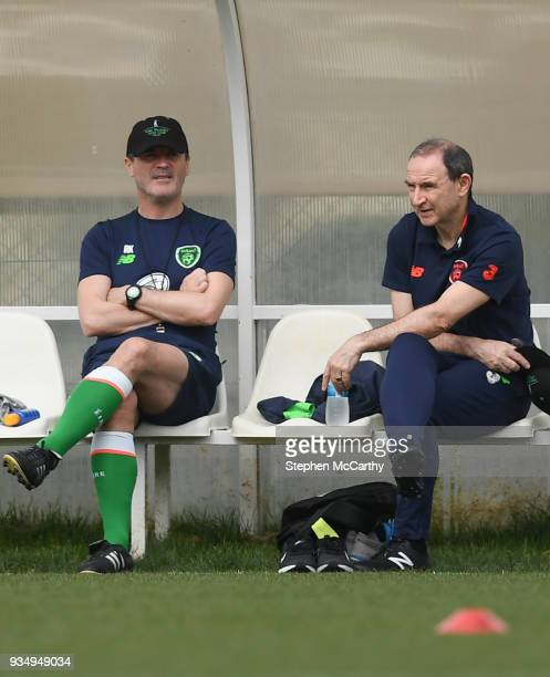 Belek Turkey 20 March 2018 Assistant manager Roy Keane left and manager Martin O'Neill during Republic of Ireland squad training at Regnum Sports...