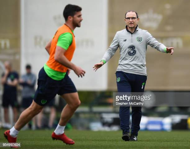 Belek Turkey 20 March 2018 Manager Martin O'Neill and Shane Long during Republic of Ireland squad training at Regnum Sports Centre in Belek Turkey