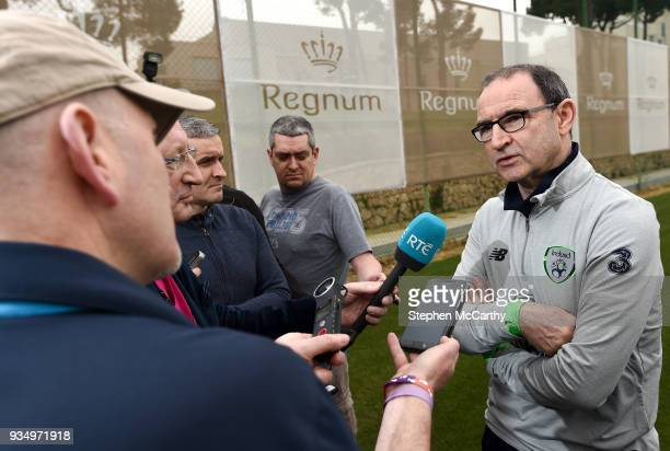 Belek Turkey 20 March 2018 Manager Martin O'Neill speaks to the media following Republic of Ireland squad training at Regnum Sports Centre in Belek...