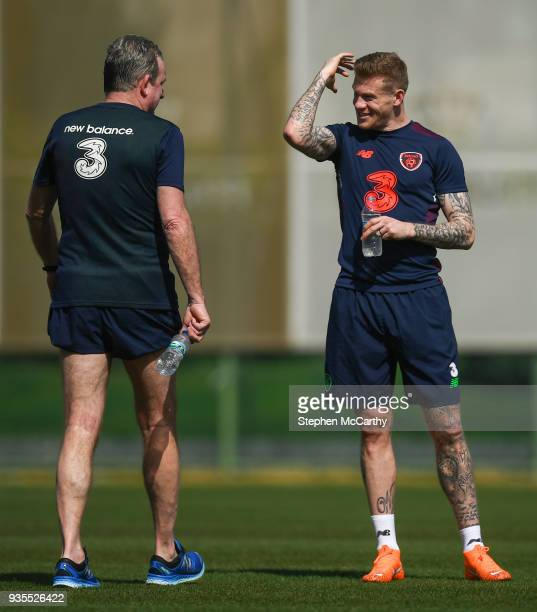 Belek Turkey 21 March 2018 James McClean and assistant coach Steve Walford during Republic of Ireland squad training at Regnum Sports Centre in Belek...