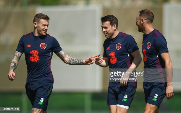 Belek Turkey 21 March 2018 Republic of Ireland players from left James McClean Seamus Coleman and David Meyler during squad training at Regnum Sports...