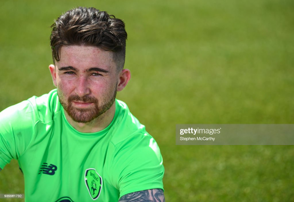 Belek , Turkey - 21 March 2018; Sean Maguire poses for a portrait after speaking to media following Republic of Ireland squad training at Regnum Sports Centre in Belek, Turkey.
