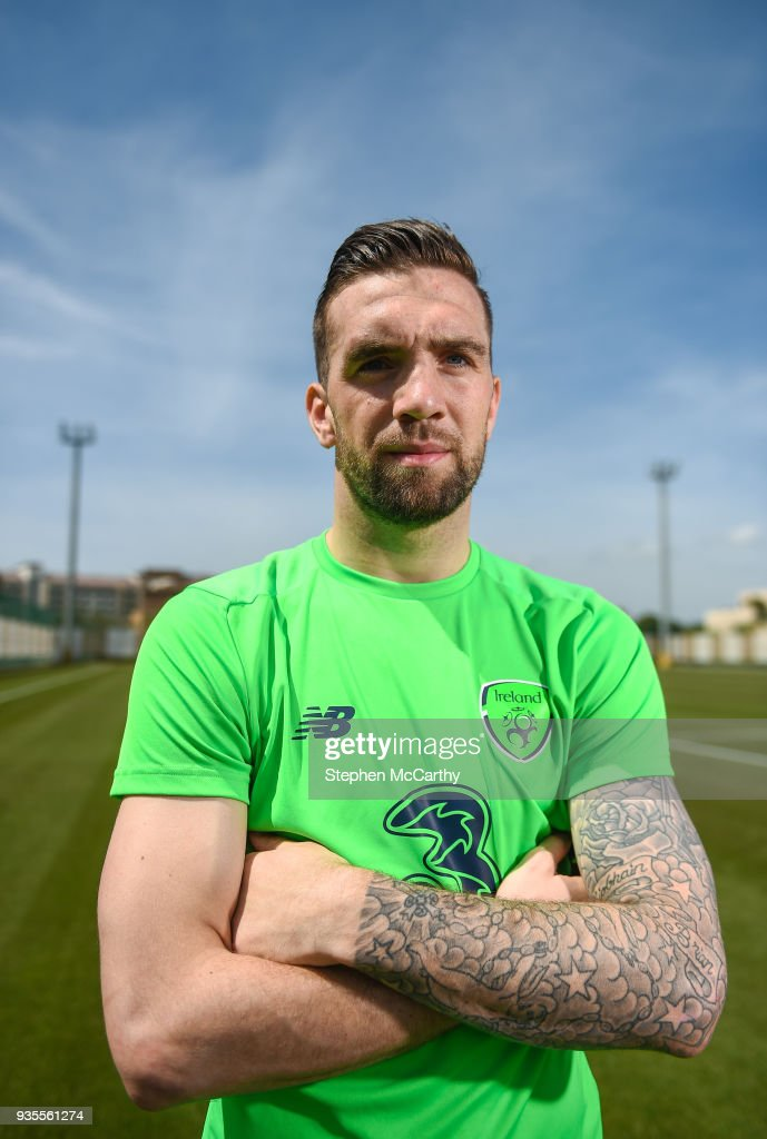 Belek , Turkey - 21 March 2018; Shane Duffy poses for a portrait after speaking to media following Republic of Ireland squad training at Regnum Sports Centre in Belek, Turkey.