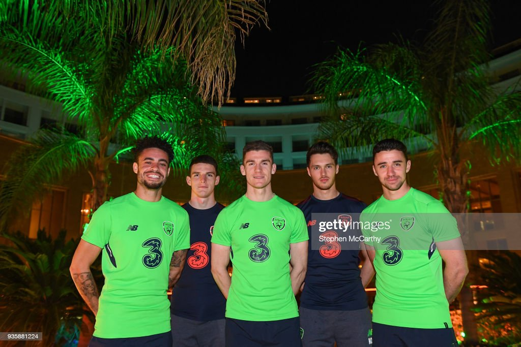 Belek , Turkey - 21 March 2018; Uncapped Republic of Ireland players, from left, Derrick Williams, Declan Rice, Darragh Lenihan, Kieran O'Hara and Enda Stevens pose for a picture at the team hotel in Belek, Turkey.