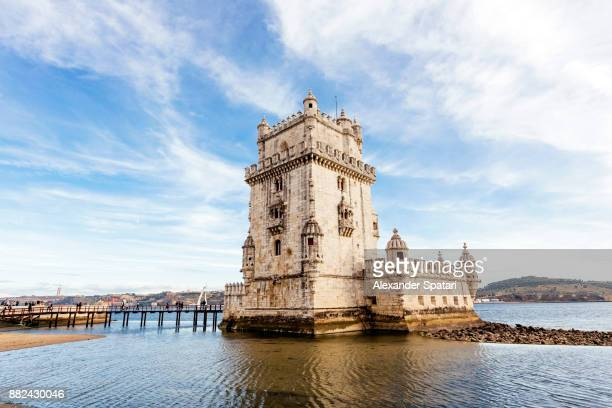 belem tower in lisbon, portugal - tower stock pictures, royalty-free photos & images
