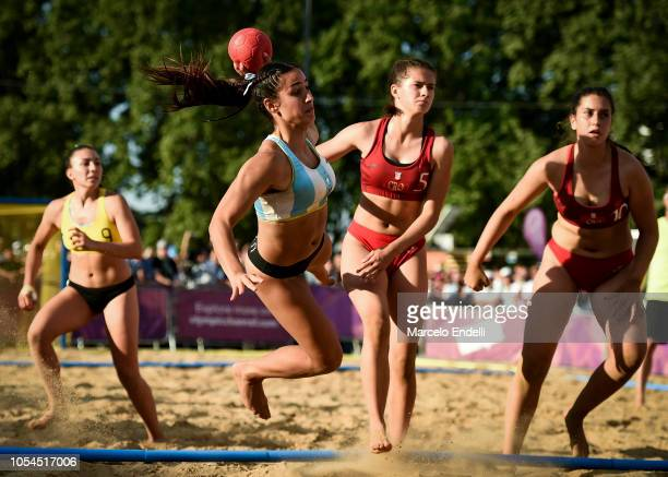 Belen Aizen of Argentina shoots on target in the Women's Gold Medal Match during day 7 of Buenos Aires 2018 Youth Olympic Games at Green Park on...