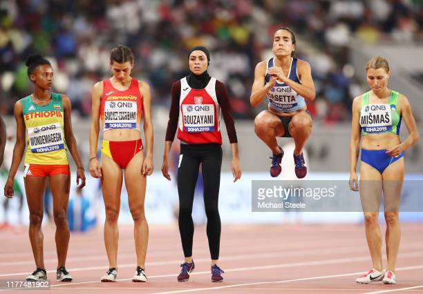 Belen Casetta of Argentina jumps prior to competing in the Women's 3000 metres Steeplechase heats during day one of 17th IAAF World Athletics...