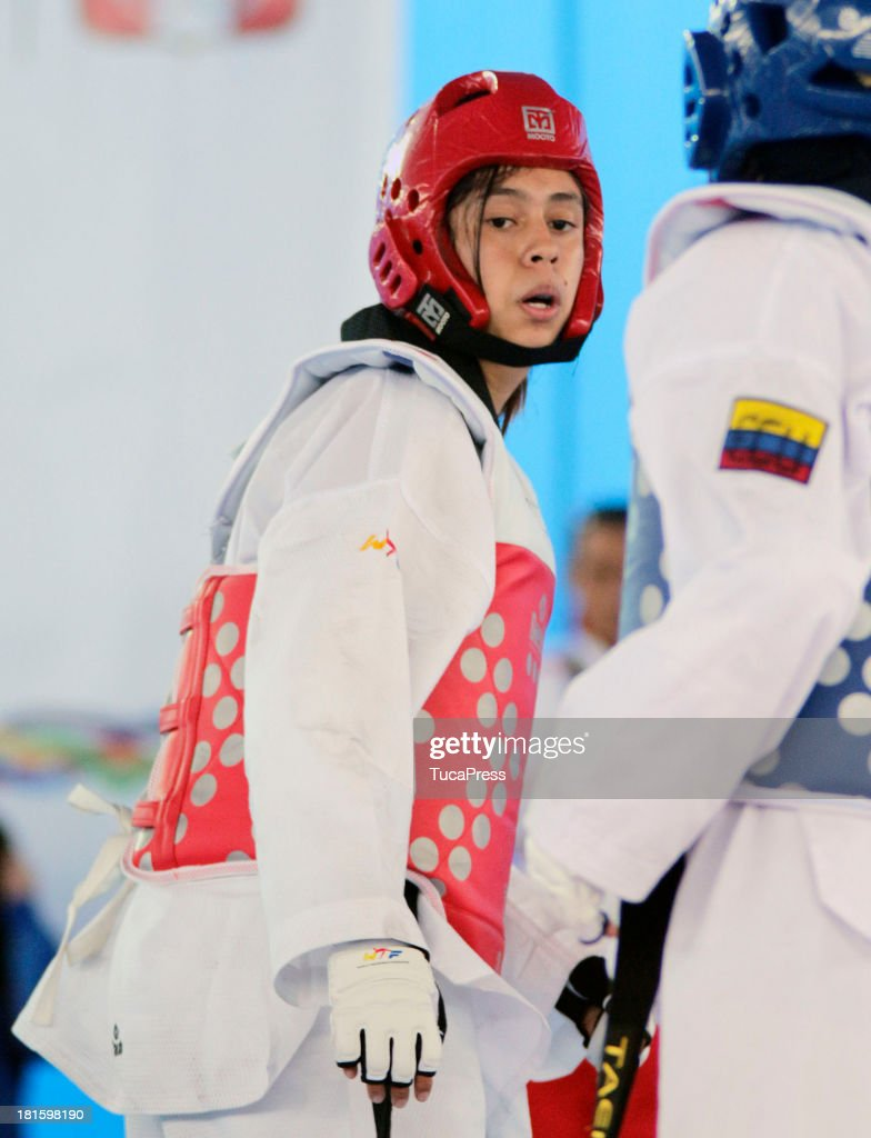 Belen Costa Ortega of Peru competes in Woman´s 63 kg Taekwondo as part of the I ODESUR South American Youth Games at on September 22, 2013 in Lima, Peru.
