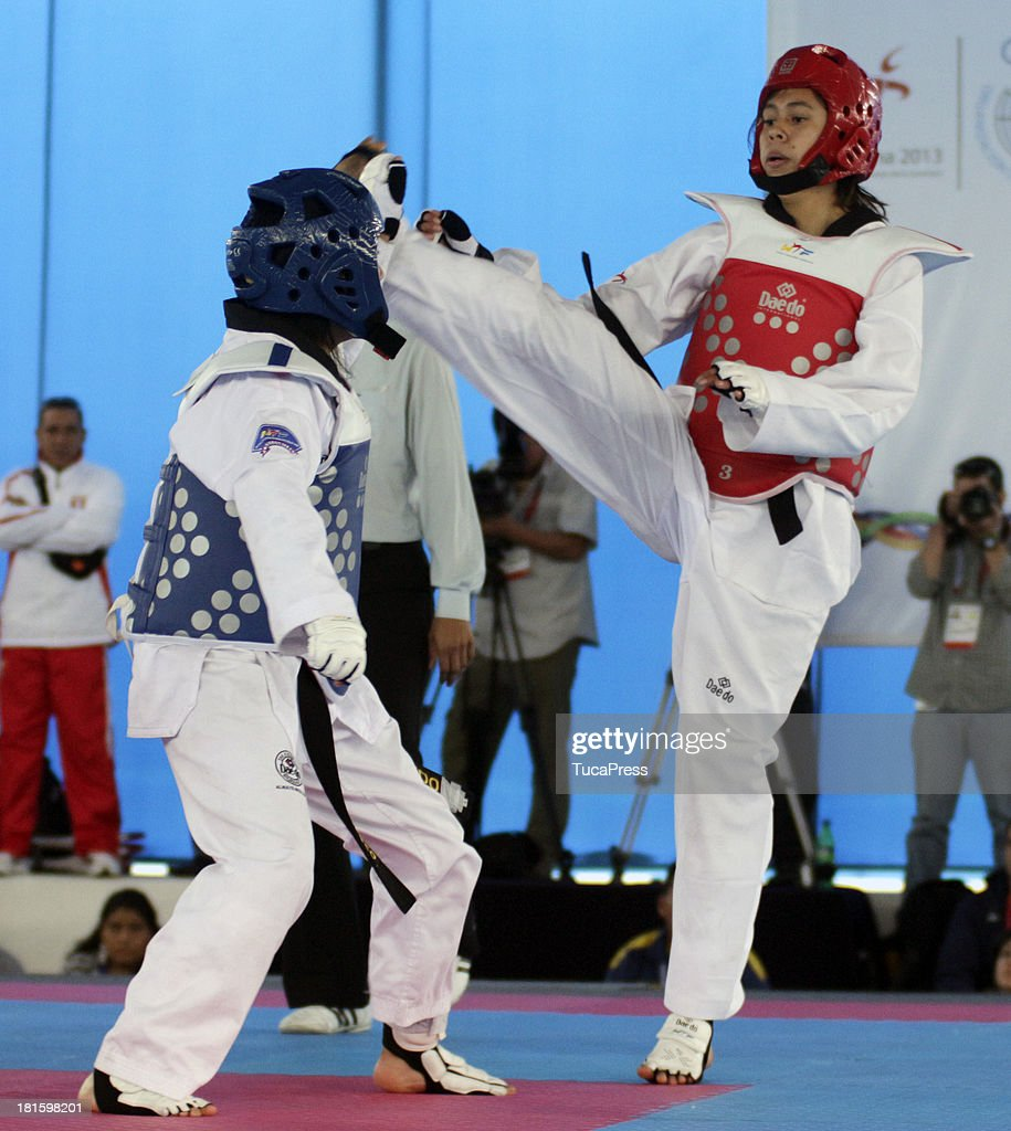 Belen Costa Ortega of Peru competes in Women´s 63 kg Taekwondo as part of the I ODESUR South American Youth Games at on September 22, 2013 in Lima, Peru.