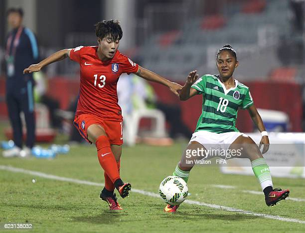 Belen Cruz of Mexico is tackled by Han Chaerin of Korea Republic during the FIFA U20 Women's World Cup Group D match between Mexico and Korea...