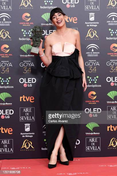 Belen Cuesta holds the Best Actress Award for the film La Trinchera Infinita during the 34rd edition of the Goya Cinema Awards at Jose Maria Martin...