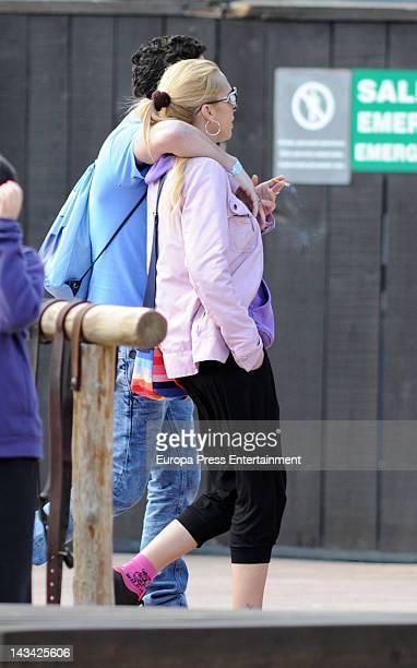 Belen Esteban and Fran Alvarez are seen at Port Aventura on April 7 2012 in Tarragona Spain