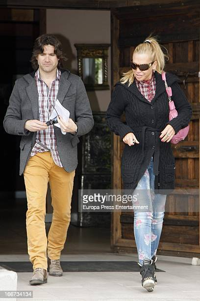 Belen Esteban and her road manager Tono Sanchis are seen on April 11 2013 in Madrid Spain