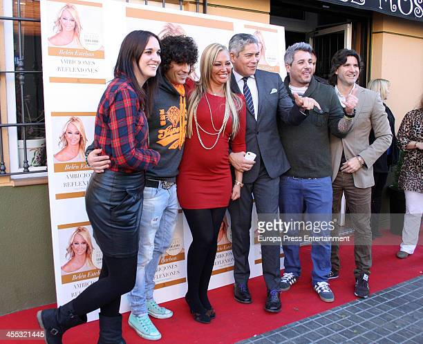 Belen Esteban Boris Izaguirre and Tono Sanchis celebrate the 1000000 copies sold of her book 'Ambiciones y Reflexiones' at Mosky Club on December 11...