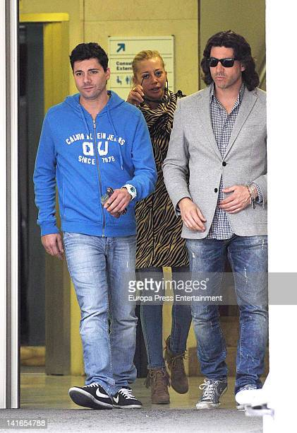 Belen Esteban Fran Alvarez and Tono Sanchis are seen at San Camilo Cliniq on March 20 2012 in Madrid Spain