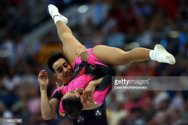 Belen Guillemot and Pedro Cabanas of Spain compete during the Aerobic Gymnastics Mixed Pairs Final during Day 4 of the 2nd European Games at the...