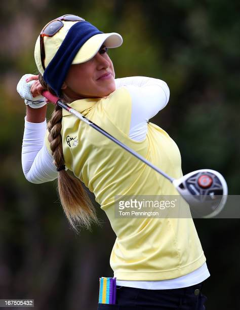 Belen Mozo of Spain hits a shot during the first round of the 2013 North Texas LGPA Shootout at the Las Colinas Country Club on April 25 2013 in...