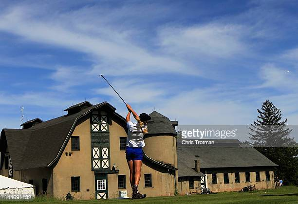 Belen Mozo of Spain hits her tee shot to the 16th hole in her match against Christie Kerr in the first round of the Sybase Match Play Championship at...