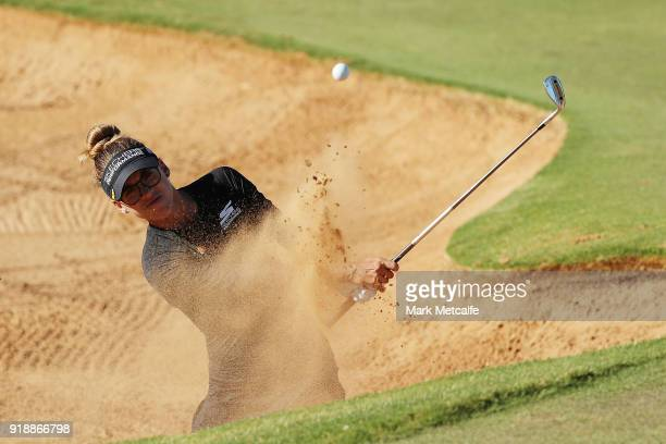 Belen Mozo of Spain plays a bunker shot on the 8th hole during day two of the ISPS Handa Australian Women's Open at Kooyonga Golf Club on February 16...