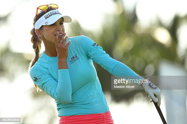 Belen Mozo of Spain watches her tee shot on the second hole during round two of the Pure Silk Bahamas LPGA Classic on January 27 2017 in Paradise...
