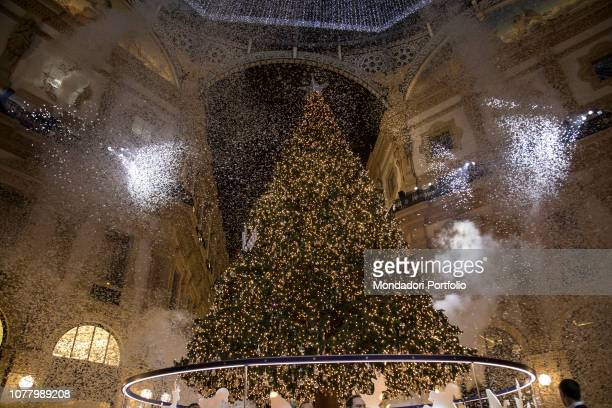 Belen Rodriguez accompanied by her son Santiago, godmother of the ceremony of lighting the Swarovski Christmas tree, in Galleria Vittorio Emanuele....
