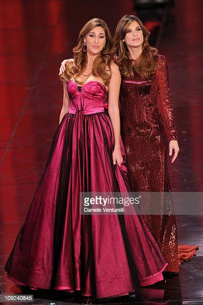 Belen Rodriguez and Elisabetta Canalis attend the 61th Sanremo Song Festival at the Ariston Theatre on February 17 2011 in San Remo Italy