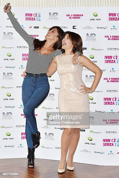 Belen Rodriguez and Tosca D'Aquino attend 'Non c'e' 2 Senza Te' Photocall on February 3 2015 in Milan Italy
