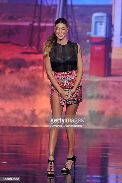 Belen Rodriguez attends 'Colorado' Italian TV Show on October 10 2012 in Milan Italy