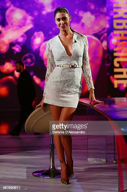 Belen Rodriguez attends 'Le Invasioni Barbariche' TV Show on February 7 2014 in Milan Italy