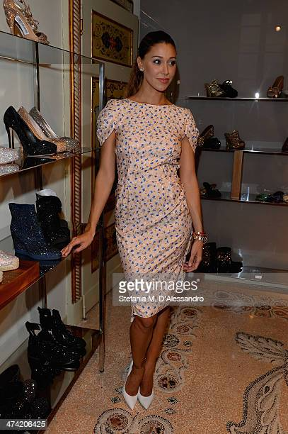 Belen Rodriguez attends the Le Silla Fall/Winter 201415 Collection Presentation as part of Milan Fashion Week Womenswear Autumn/Winter 2014 on...