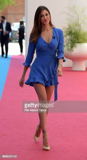 Belen Rodriguez attends the Mediaset unveils it's 'World Cup 2018' TV offer press conference on June 7 2018 in Milan Italy