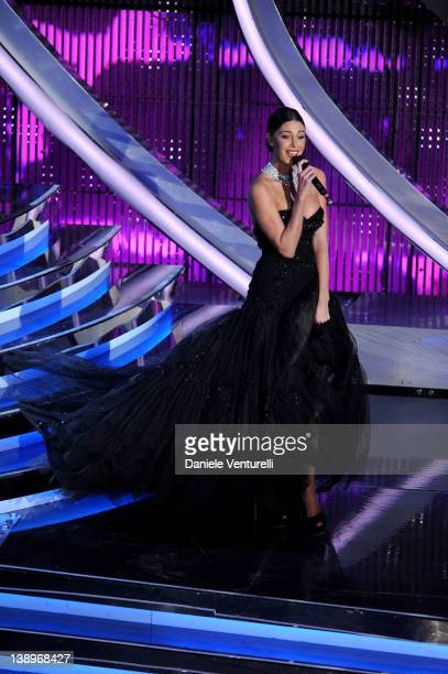 Belen Rodriguez attends the opening night of the 62th Sanremo Song Festival at the Ariston Theatre on February 14 2012 in San Remo Italy